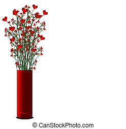 vase with red heart flowers