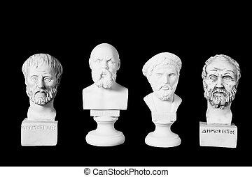 blanco, Mármol, busto, de, antiguo, Griegos,