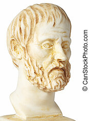 White marble bust of the greek philosopher Aristoteles -...