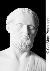 White marble bust of the greek physician Hippocrates,...