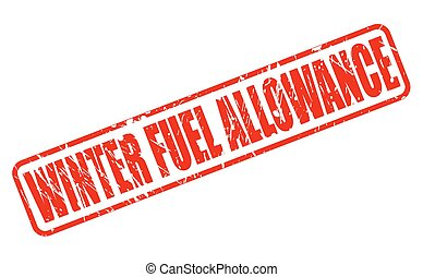 WINTER FUEL ALLOWANCE red stamp text on white