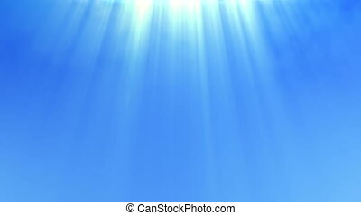 Blue sky with a divine light shining from above - Clear blue...
