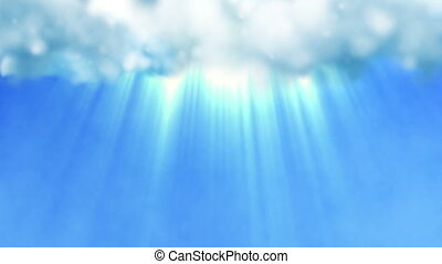 Blue sky with a divine light shining from the clouds - Blue...