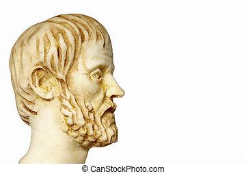 branca, Mármore, Busto, de, a, Grego, filósofo, Aristoteles,...