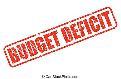 BUDGET DEFICIT red stamp text on white