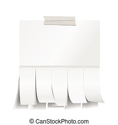 Blank white paper with cut slips - Vector EPS 10 format.