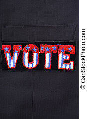 USA Vote Badge on suit pocket - Closeup of USA vote badge on...