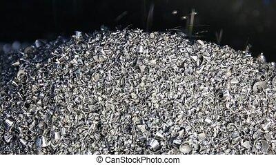Chip conveyor moving steel scrap. Chip conveyor convey scrap...
