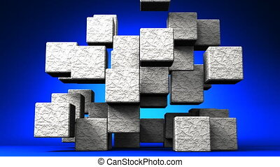 Stone Cube Abstract On Blue - Loop Able Stone Cube Abstract...