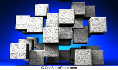 Stone Cube Abstract On Blue Background. Abstract 3D render...