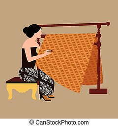 javanese woman girl drawing create batikholding canting...