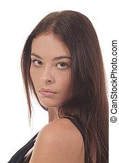 Brunet looking over shoulder - Attractive brunet looking...