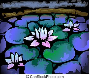 Digital painting of lotus in colour background.