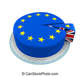 Piece of European Union Cake - Great Britain Flag as Piece...