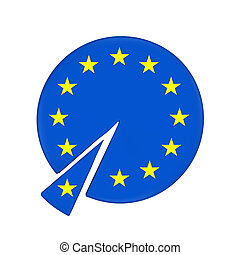 Piece of European Union Cake isolated on white background....