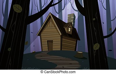 Cabin in Woods - Night - Cartoon illustration of the night...