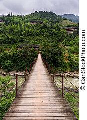 Wooden suspention bridge