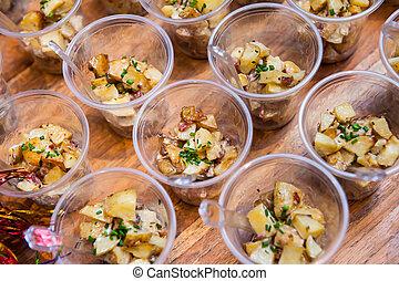 Seasoned finely chopped potatoes - Seasoned and freshly...