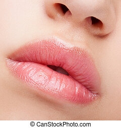 Close-up shot of female lips with healthy skin and rose...