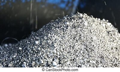 Chip conveyor moving steel scrap. Chip conveyor convey scrap...