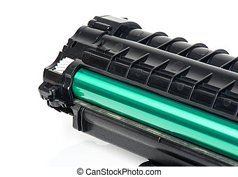 cartridge - used black cartridge for laser printer isolated...