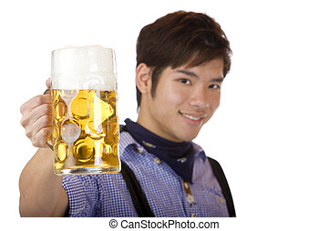 Man cheers with Oktoberfest beer stein - Prost - Asian man...