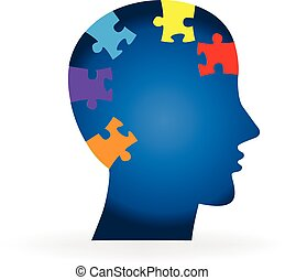 Brain logo puzzle idea mental health concept icon vector