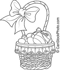 Easter Basket - Coloring page pretty Easter basket full of...