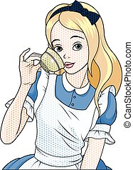 Comic stile Alice Takes Tea Cup - Illustration of Comic...