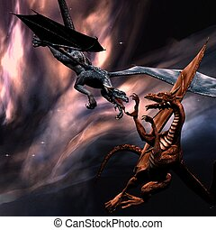 Fighting dragons - 3D rendered fighting dragons on the sky