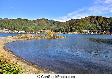 Lake Kawaguchi, located in Fujikawaguchiko, southern...