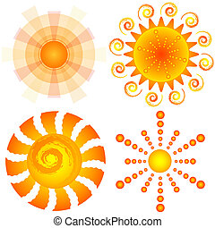 Set decorative suns (vector) - Set abstract decorative suns...