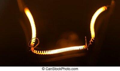 Warm light bulb isolated filament glow slow flashing