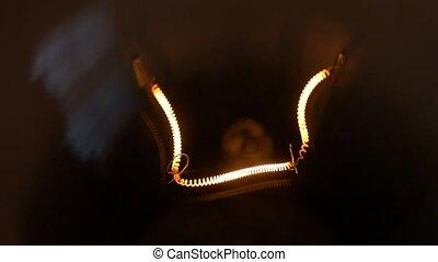 light bulb isolated filament glow slow flashing