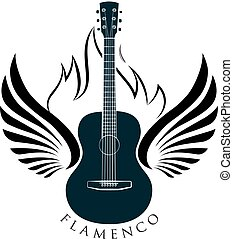 Acoustic, classic guitar emblem with wings, fire and caption FLAMENCO