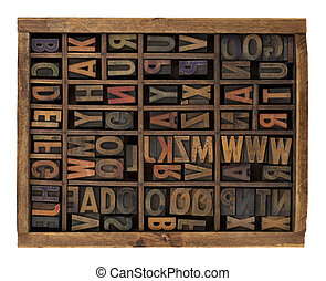 alphabet in antique wood letterpress types - vintage wood...