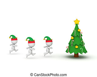 3D Characters with Elf Hats Running Toward Christmas Tree
