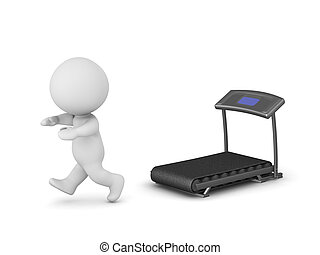 3D Character Running Away from Exercise Machine - 3D...