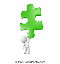 3D Character Holding Very Large Puzzle Piece - Small 3D...