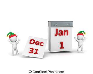 3D Characters Cheering and Calendar with December 31st...