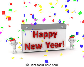 3D Characters Cheering and Calendar with Happy New Year Text...
