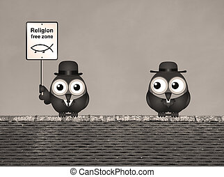 Sepia Religion Free Zone - Sepia comical religion free zone...