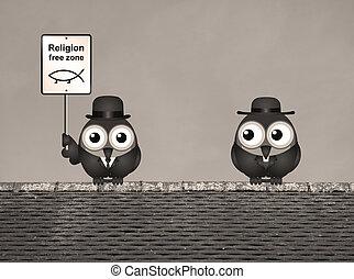 Sepia Religion Free Zone - Sepia comical religion free zone...