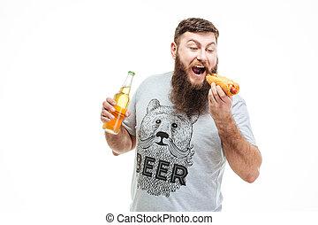 barbudo, comer, garrafa, quentes, cão, Cerveja, segurando,...