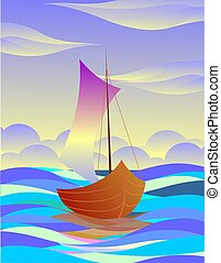 Digital painting of boat in colour