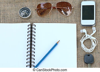 Collection of Travel, Notebook with a pencil and eye glasses