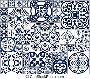 Moroccan tiles Seamless Pattern A - Vector Illustration of...