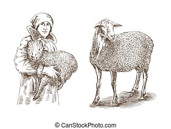 Female farmer holding a lamb in his hands sketch made by...