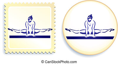 Gymnast on button and stamp set Original Vector Illustration...