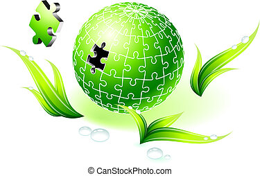 Incomplete Natural Green Globe Puzzle